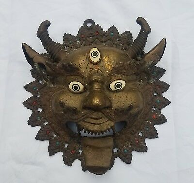 Beautiful Tibetan Mahakala Bronze ?  Brass  ? Mask
