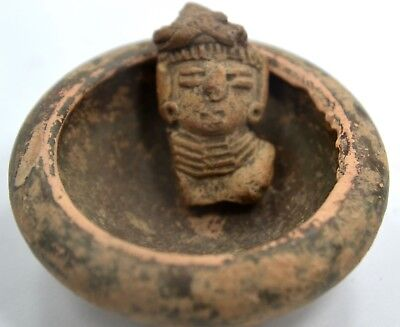 Pre-Columbian Mayan Terracotta Small Head and Bowl