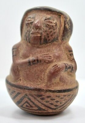 Pre Columbian Chancay Polychrome Effigy Female Vessel