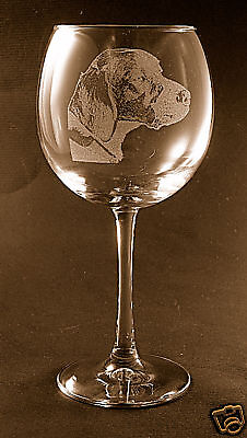New! Etched Brittany on Elegant Wine Glasses - Set of 2