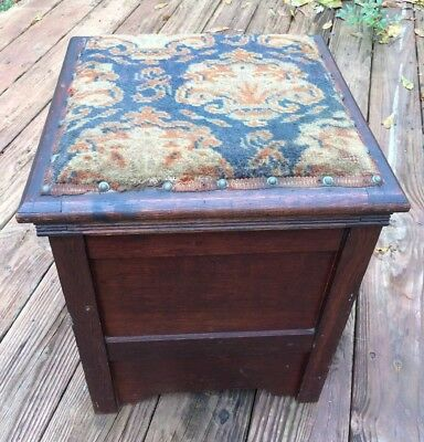 Antique Victorian Mohogany Bedroom Commode Chamber Pot Tapestry Rug Top