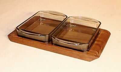 Vintage Teak Tray 2 Glass Partitioned Dish c.1960s LAURIDS LONBORG Denmark 335FF