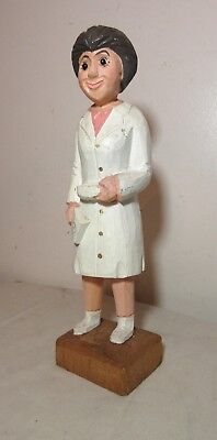 vintage hand carved wood Folk Art figural nurse doctor RX sculpture figurine