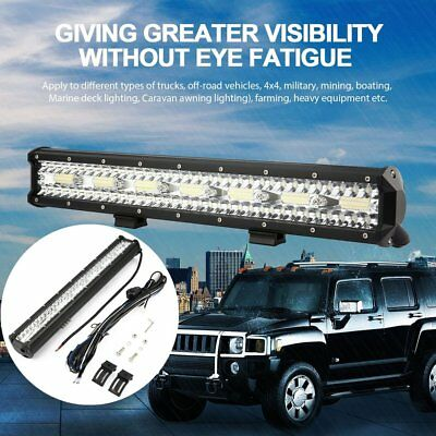 20inch LED Light Bar Triple Row Flood Combo Work Driving 12V 24V 4x4 WD Truck AU