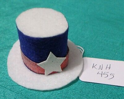 Blue & White Felt July 4th Top Hat, Red Band & White Star Ken Barbie Doll KNH455