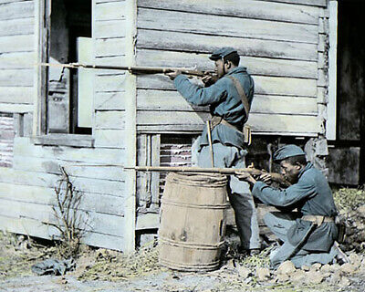 """TWO AFRICAN AMERICAN SOLDIERS 1864 CIVIL WAR 8x10"""" HAND COLOR TINTED PHOTOGRAPH"""