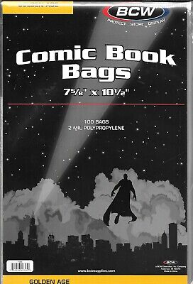 (100) Bcw Golden Age Comic Book Size Bags / Covers With Free Shipping