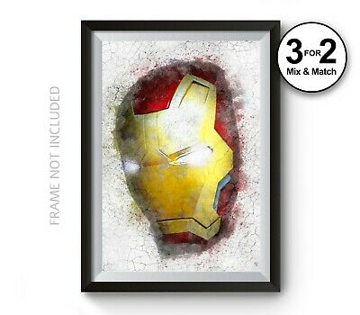 Iron Man Mask 100% Cotton Poster, Marvel Avengers Movies Poster, Graffiti Wall
