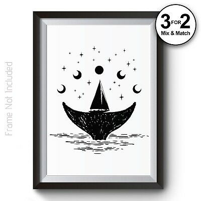 Ocean Art Print on 100% Cotton - Solar Moon Phases Whale Home Decor Poster