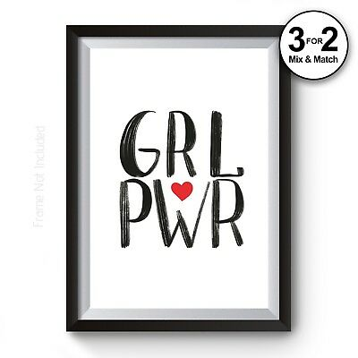 GRL PWR Wall Art Print - Minimalist Girl Power 100% Cotton Cute Girly Home Decor