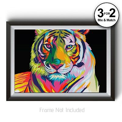 Tiger Wall Art Prints, Abstract Wildlife Home Decor, Colourful Animal Poster Art