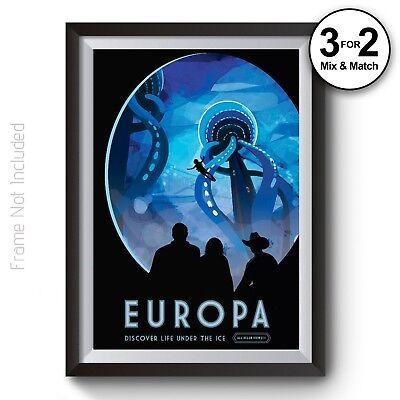 NASA Space Travel Posters EUROPA - Visions of the Future Space Travel Art Prints
