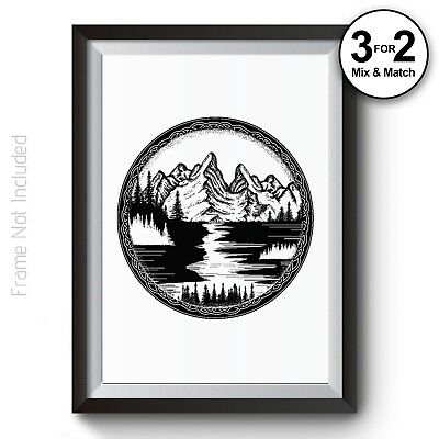 Landscape Mountain Dot Painting Celtic Symbol Giclee Quality Wall Art Prints