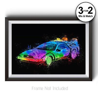 Back to the Future Poster - Delorean Wall Art Print - Abstract Splash Painting