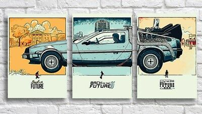 Abstract Splash Painting Delorean Wall Art Print Back to the Future Poster