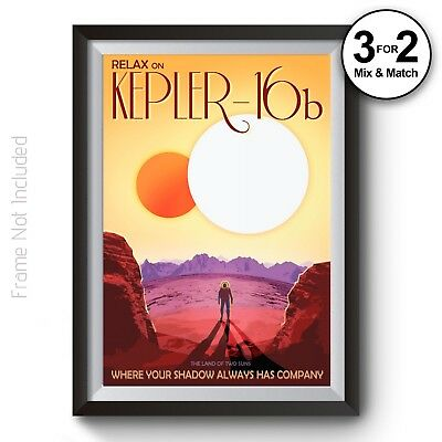Kepler 16b NASA Space Travel Posters - Visions Future Space Tourism Art Print