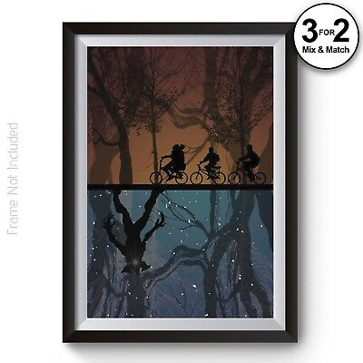 Vintage Style Stranger Things The Upside Down 100% Cotton Wall Art Poster Print
