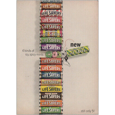 1964 Lifesavers: 4 Kinds of Icy Spicy Mints Vintage Print Ad
