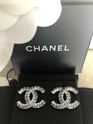 710042001 Chanel 2019P Classic Silver Tone Cc Logo White Blue Crystals Earrings Studs  Nib