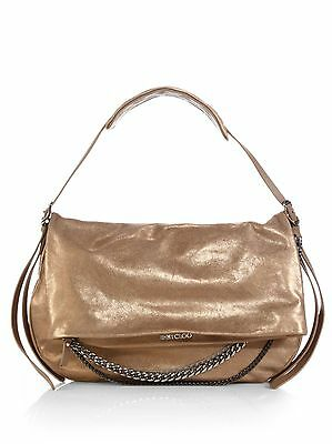 af9412e9f3 JIMMY CHOO Logo Frappe Large Biker Chain Shimmer Metallic Shoulder Bag LOVE