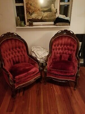 Pair Antique Wingback Chairs red velvet carved wood