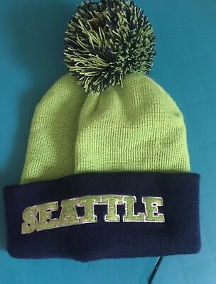 7e7fbfe38bb SEATTLE SEAHAWKS NEW Era Knit Hat Striped Cuff Pom Beanie Stocking ...