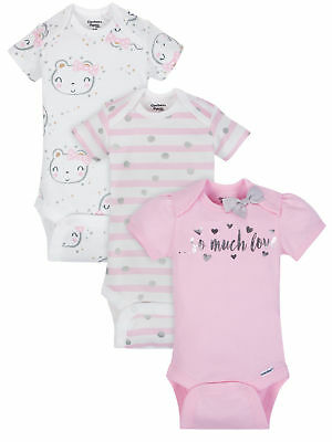 Gerber Baby Girls 3 Pack Organic Cotton Onesies Various Sizes NEW Bodysuits
