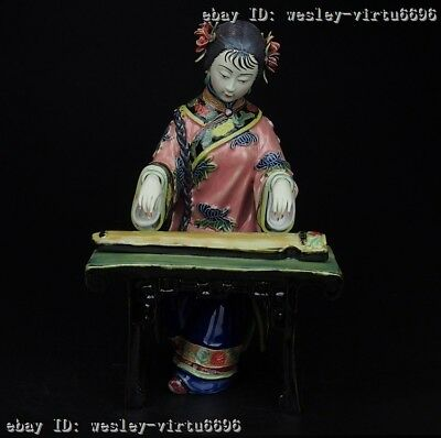 Pottery Wucai Porcelain Display Woman Ladies play the zither Decoration Statue