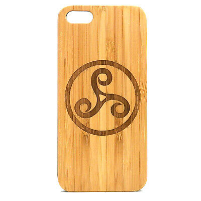 Triskele Symbol Case made for iPhone 8 Plus phone Bamboo Wood Cover Irish Spiral