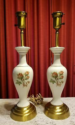 """Torchiere Torch Table Lamps Vintage Set of 2 Porcelain Roses Gold Trim 24"""" High"""