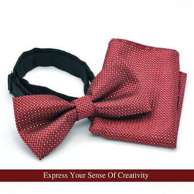Classic Maroon Burgundy Bordeaux Tie Checkered Dark Red Grid Dot Squares Bow Tie