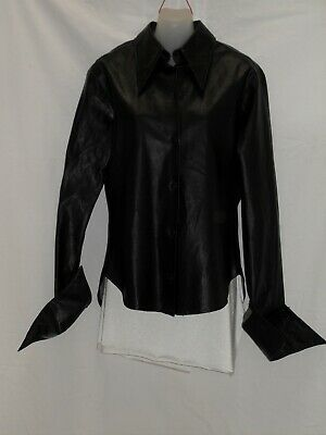 1980's Vintage Long Sleeved Jacket Style Faux Leather Shirt.