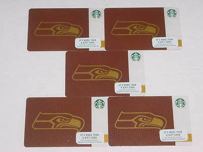 A Lot Of 5 - New, Unswiped 2017 Starbucks Coffee Seattle Seahawks Logo Cards