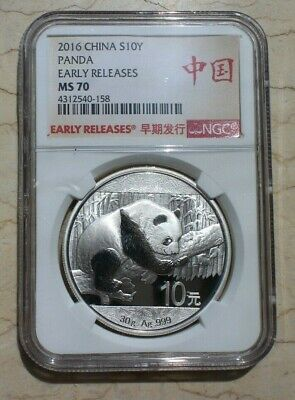 NGC MS70 China 2016 30g Regular Silver Panda Coins (Early Releases)