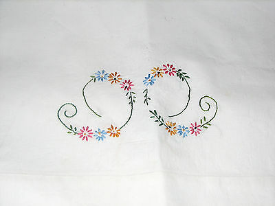 """Vintage Pair Floral on White Embroidered Cotton Pillowcases 30"""" X 20"""""""