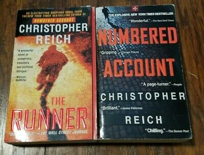 Lot of 2 Christopher Reich paperbacks, Numbered Account, The Runner