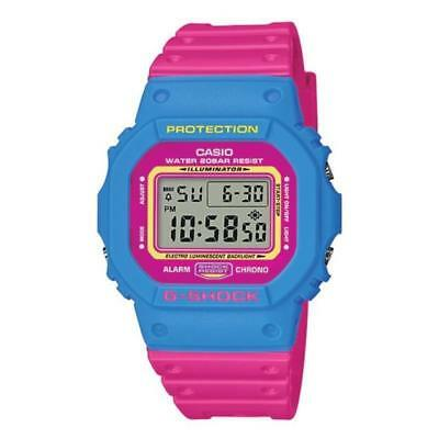 Casio G Shock DW5600TB 4B Watch Water Shock Resistant Retro Throwback Pink Blue
