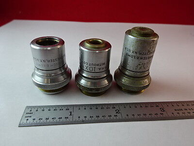 Lot 3 Ea Bausch Lomb Objectives Microscope Part As Is &2-A-24