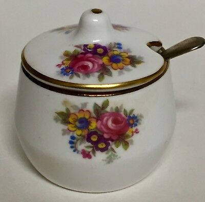 Abbeydale Chelsea Rose Bone China Small Lidded Mustard Pot with Spoon England