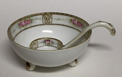 Hand Painted Nippon Footed Sauce Bowl with Spoon Gold Moriage and Rose Pattern