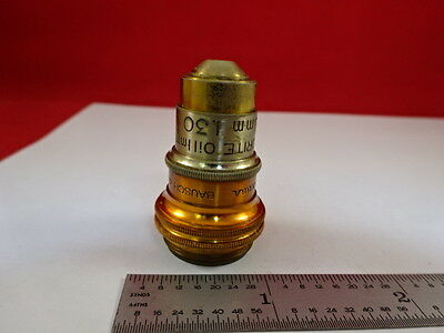 Vintage Brass Bausch Lomb Fluorite Objective Microscope Optics As Is &33-A-04