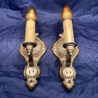 2 Art Deco Electric Candle Wall Sconces Pair Beautiful Vintage Wired 2D