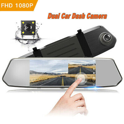 "TOGUARD Dual DashCam 7"" FHD 1080P Car Camera Rearview Backup Camera Touch Screen"