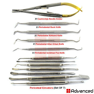 Periodontal Gingival Surgery Kit Gingivectomy Knifes Periosteal Elevators Buser
