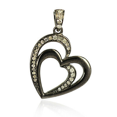 Mother's Day 0.21ct Diamond Heart Shape Pendant 925 Sterling Silver Jewelry