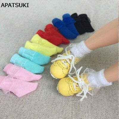 5pairs/lot Lace Short Socks for Blythe 1:6 Doll Sock For BJD Solid Color Sock