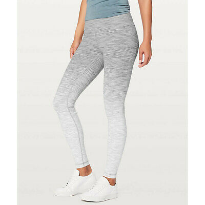 3b0a138552 Lululemon Sz 10 Wunder Under High Rise Tight Ombre Melange Full On Gray  Pocket