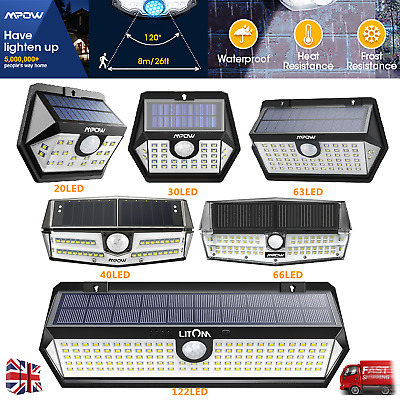 Mpow IP65 LED Solar Light Super Bright Motion Sensor Security Wall Lamp 3 Modes