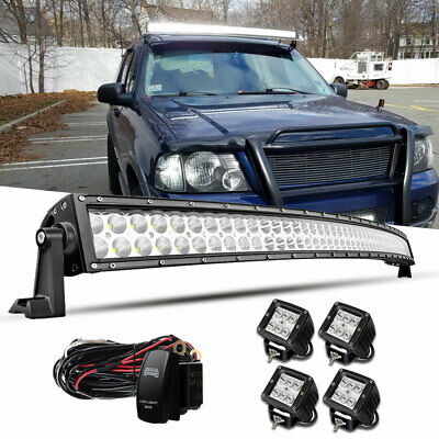 Curved 52inch 700W LED Light Bar Roof +4X 4'' Pods Driving Truck SUV 4WD 54''