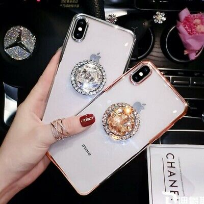 For iPhone XS Max XR 8 Plus 6s Plated TPU Case with Diamond Ring Kickstand Cover